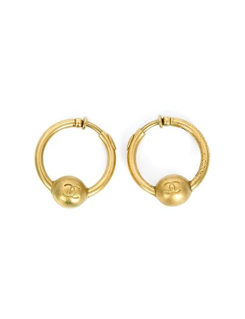 Chanel Vintage | Женское Желтый Logo Hoop Earrings
