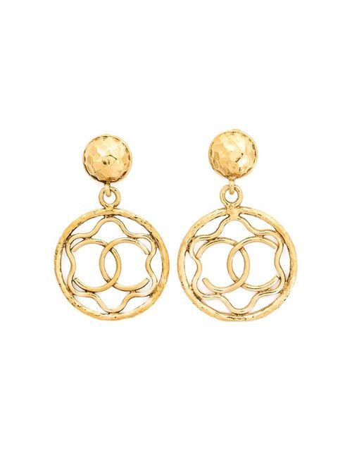 Chanel Vintage | Женское Желтый Logo Hoop Clip-On Earrings