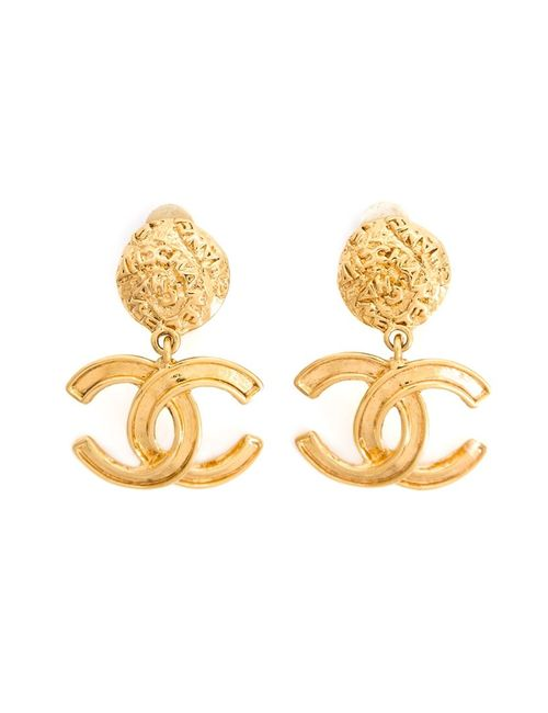 Chanel Vintage | Женское Желтый Logo Clip-On Earrings