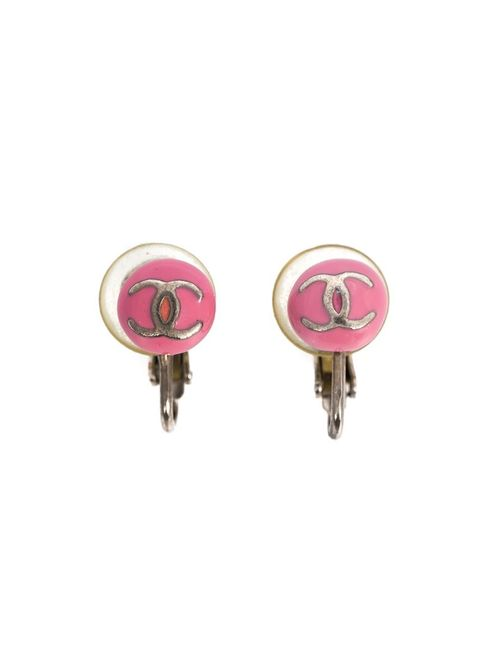Chanel Vintage | Женское Розовый Enamel Logo Round Earrings