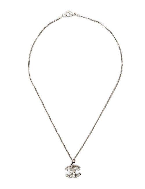 Chanel Vintage   Женское Серый Rhinestones Embellished Logo Pendant Necklace