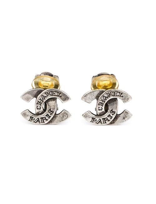 Chanel Vintage | Женское Серый Logo Clip-On Earrings