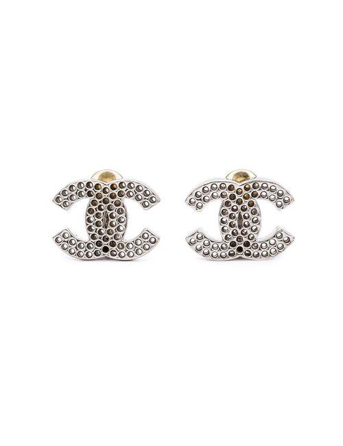 Chanel Vintage | Женские Белые Перфорированные Клипсы С Логотипом
