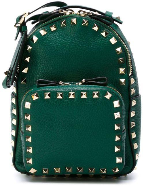 Valentino Garavani | Женское Зелёный Small Rockstud Backpack