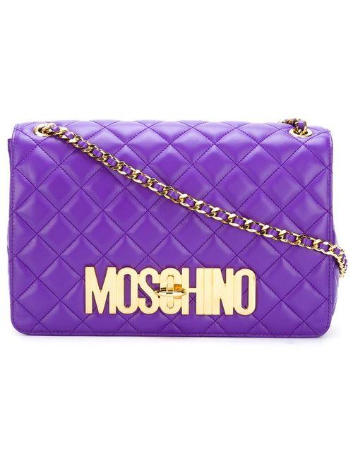 Moschino | Женская Розовая Стеганая Сумка Через Плечо С Логотипом