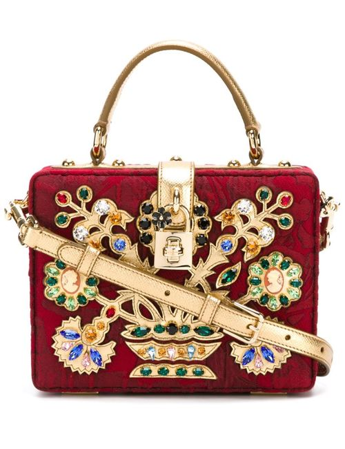 Dolce & Gabbana | Женская Красная Декорированная Сумка Через Плечо