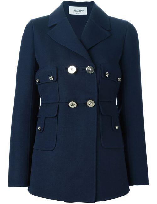 Valentino | Женское Синее Двубортное Пальто