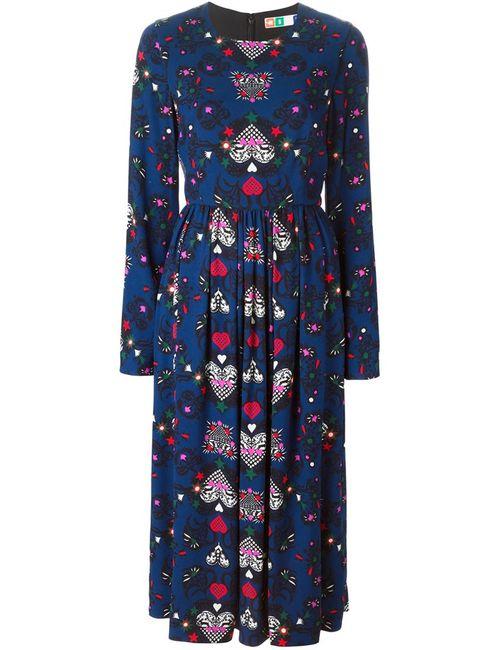 MSGM | Женское Синее Расклешенное Платье С Принтом Сердец