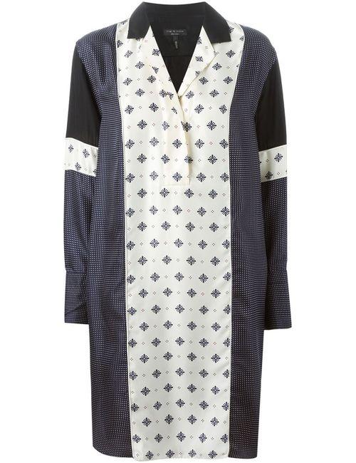 Rag & Bone   Женское Синее Платье-Рубашка С Принтом