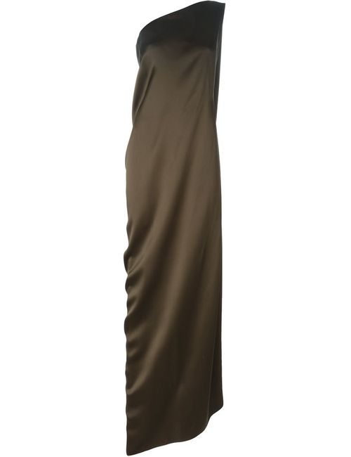 Maison Rabih Kayrouz   Женское Коричневое Длинное Платье На Одно Плечо