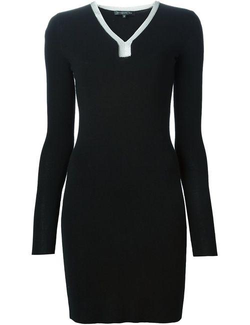Barbara Bui | Женское Чёрное Платье-Свитер С Цепочной Отделкой Выреза