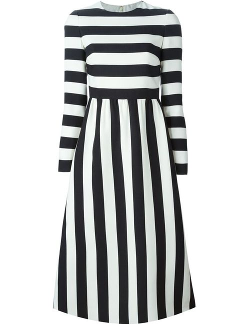 Valentino | Женское Чёрный Striped Midi Dress