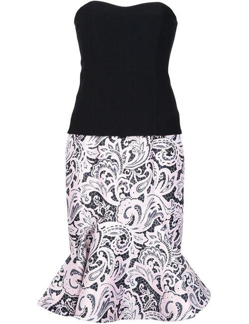 Mary Katrantzou   Женское Чёрное Платье Без Бретелек С Расклешенным Подолом