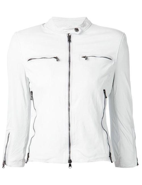 R13   Женская Белая Классическая Кожаная Куртка