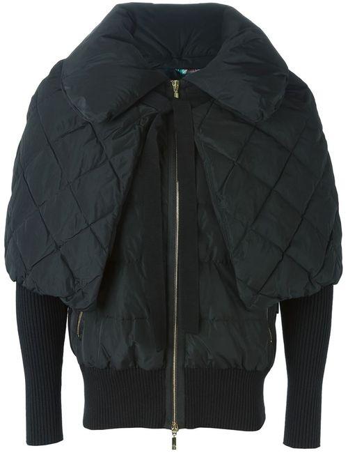 Moncler | Женская Черный Дутая Куртка-Накидка