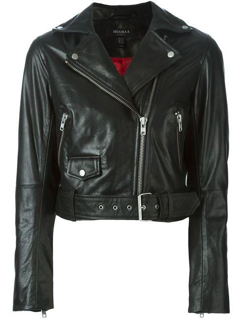 Muubaa | Женская Чёрная Байкерская Куртка