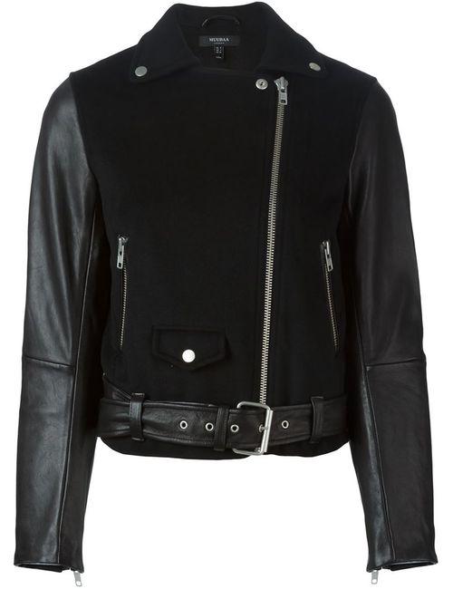 Muubaa | Женская Чёрная Байкерская Куртка С Контрастными Рукавами