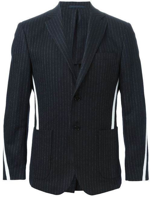CMMN SWDN | Мужское Синий Pinstriped Grosgrain Band Blazer