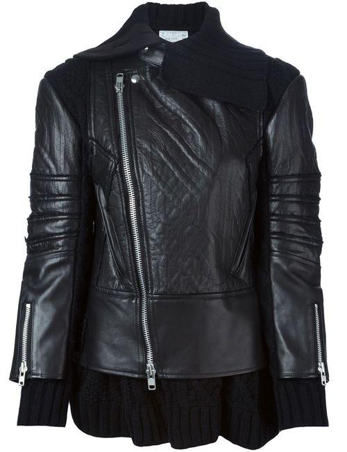 Sacai | Женская Чёрная Байкерская Куртка С Трикотажным Воротником