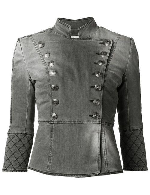 Pierre Balmain | Женская Серая Джинсовая Куртка В Стиле Милитари