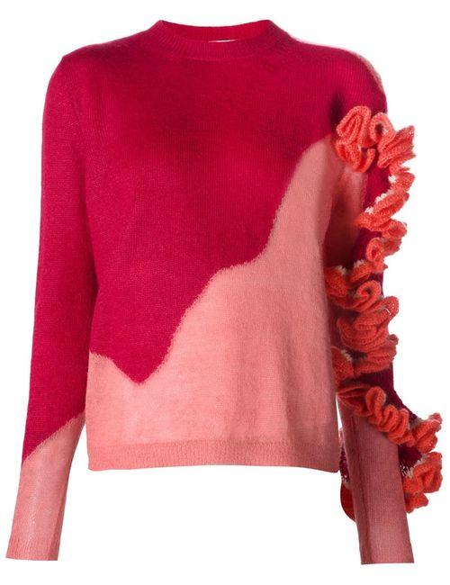 Delpozo   Женское Красный Ruffle Detail Knit Sweater