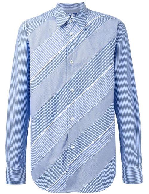 JUNYA WATANABE COMME DES GARCONS | Мужская Синяя Рубашка С Лоскутным Полосатым Узором