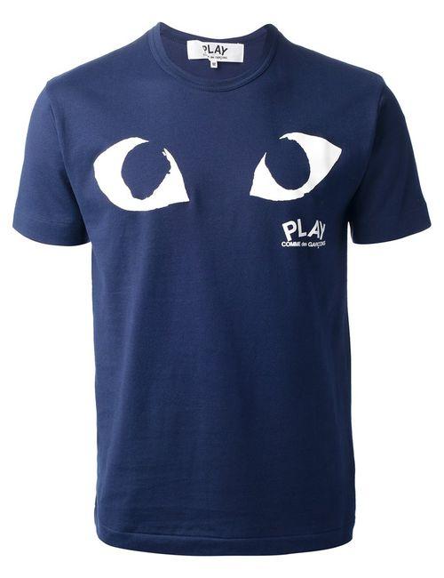 Comme Des Garcons | Мужская Синяя Футболка С Принтом Логотипа