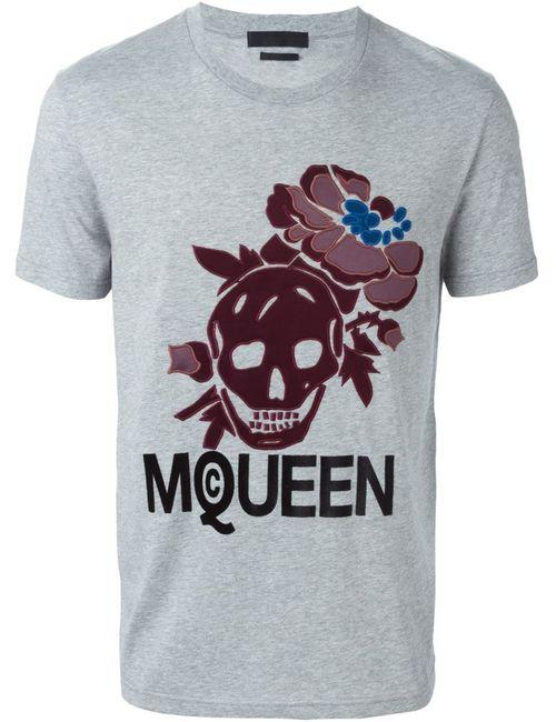 Alexander McQueen | Серый Hibiscus Skull T-Shirt