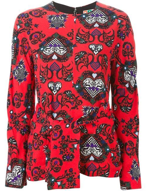 MSGM | Женское Красный Hearts Print Blouse