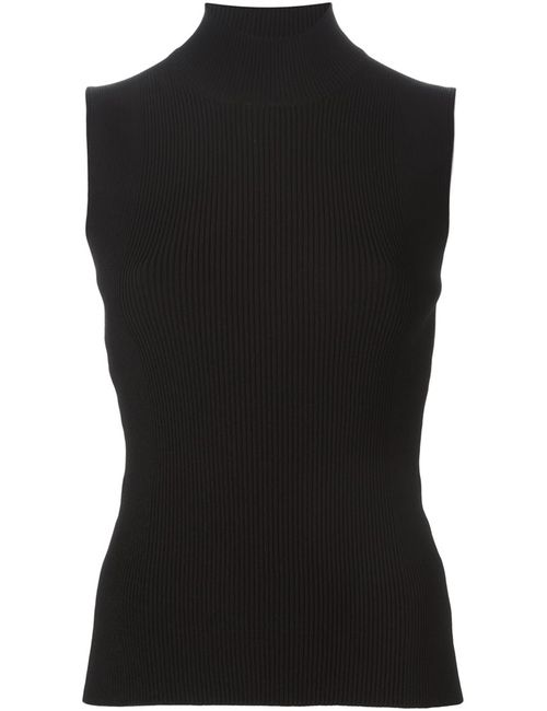 Cedric Charlier   Женское Черный Ribbed Turtle Neck Sleeveless Sweater