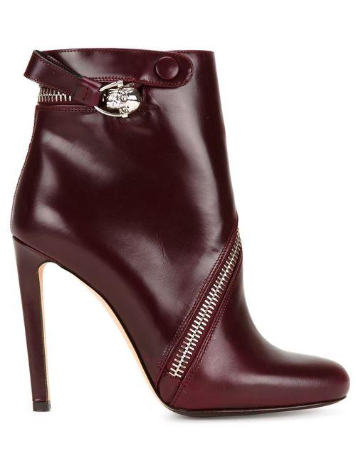 Alexander McQueen | Женские Розовые Ботинки С Асимметричной Молнией