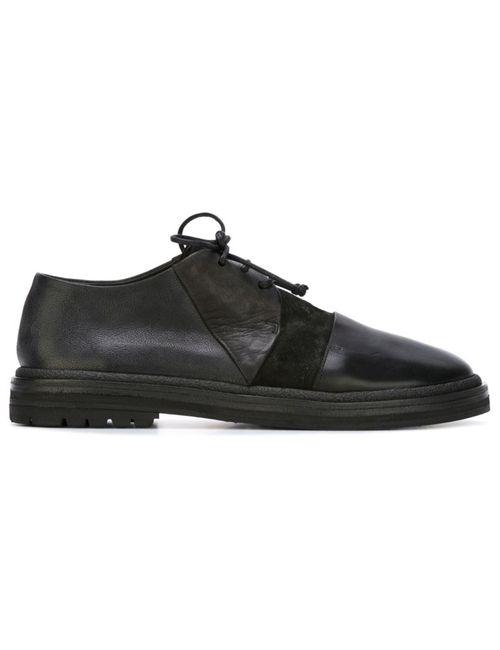 Marsell | Мужские Чёрные Туфли На Шнуровке С Панельным Дизайном