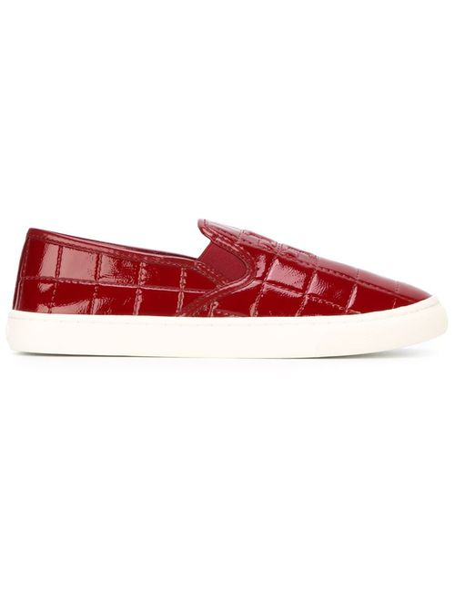 Tory Burch | Женское Красный Quilted Logo Slip-On Sneakers