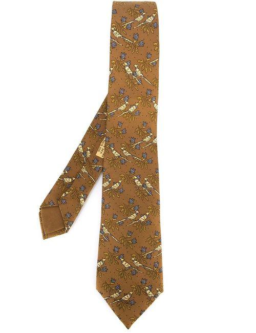 Hermès Vintage   Мужское Коричневый Bird Print Tie