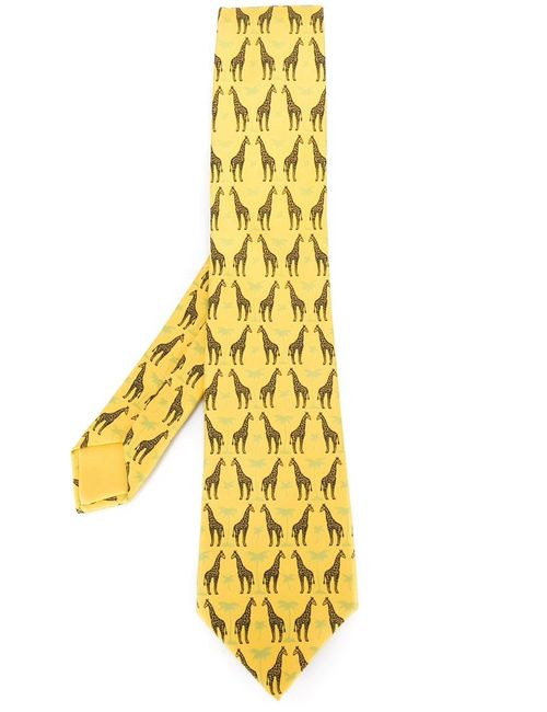 Hermès Vintage | Мужское Желтый Giraffe Print Tie