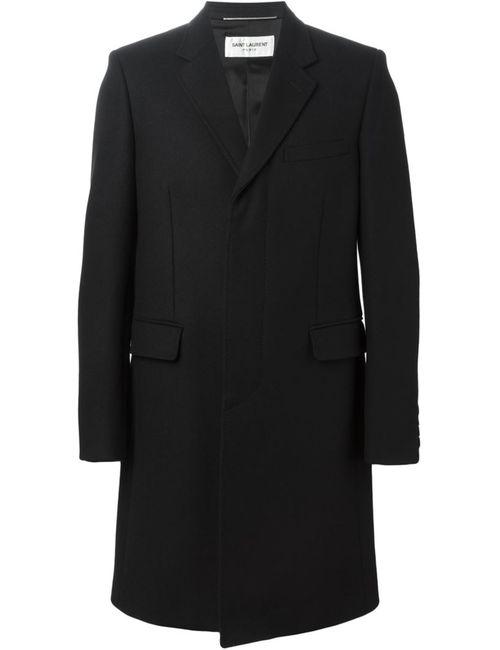 Saint Laurent | Мужское Чёрное Однобортное Пальто