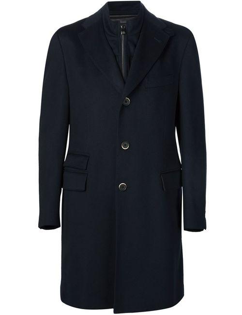 Corneliani | Мужское Черный Пальто С Вставкой На Молнии Identity