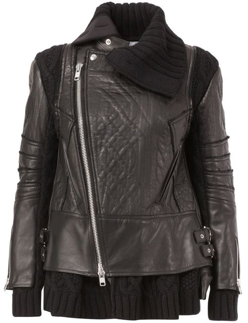 Sacai | Женское Knit Panel Biker Jacket