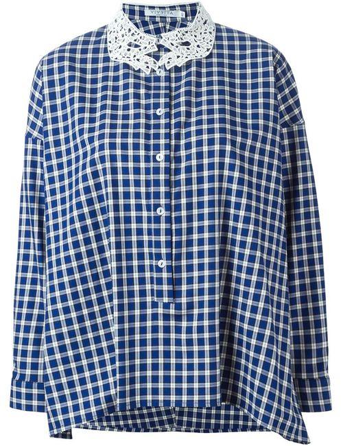 Vivetta | Женская Синяя Клетчатая Рубашка С Кружевным Воротником