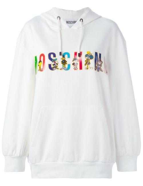 Moschino | Женское Белый Looney Tunes Logo Hoodie