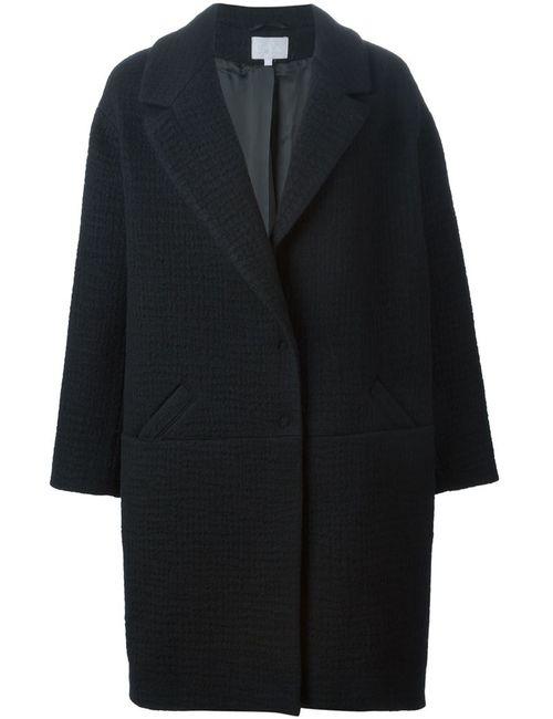 Lala Berlin | Женское Чёрное Тканое Пальто Мешковатого Кроя