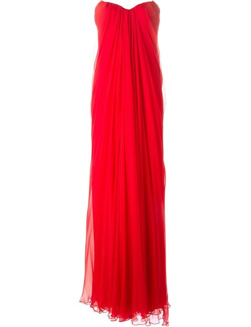 Alexander McQueen | Женское Красное Драпированное Платье
