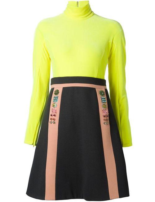 Delpozo | Женское Жёлтое Комбинированное Платье С Высоким Горлом
