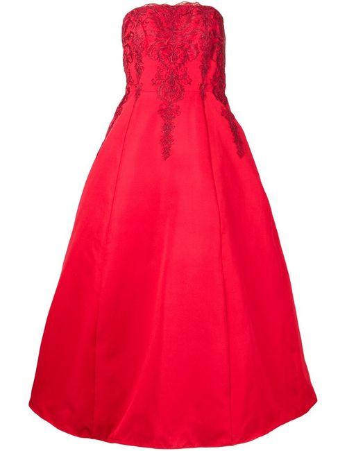 Marchesa Notte | Женское Красный Embroidered Strapless Gown