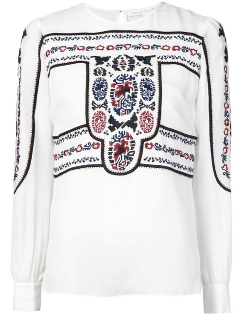 Veronica Beard   Женская Белая Блузка С Вышивкой