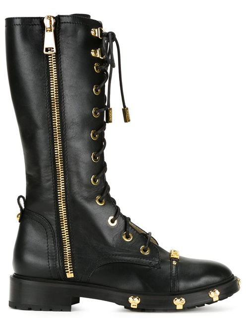 Moschino | Женские Чёрные Ботинки В Стиле Милитари