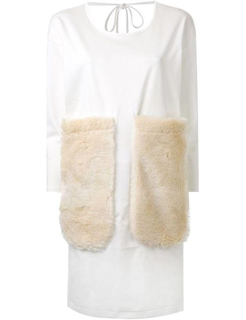 MIHARA YASUHIRO | Женское Белое Платье-Футболка С Меховыми Накладными Карманами