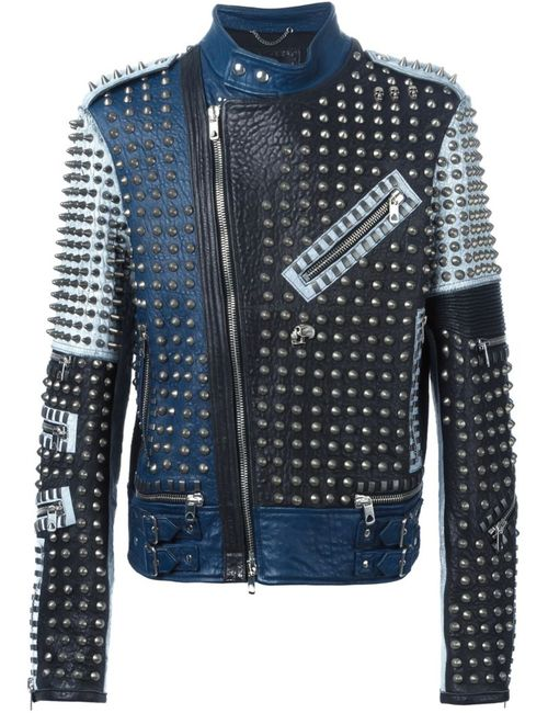 Diesel Black Gold | Мужская Синяя Байкерская Куртка С Панельным Дизайном