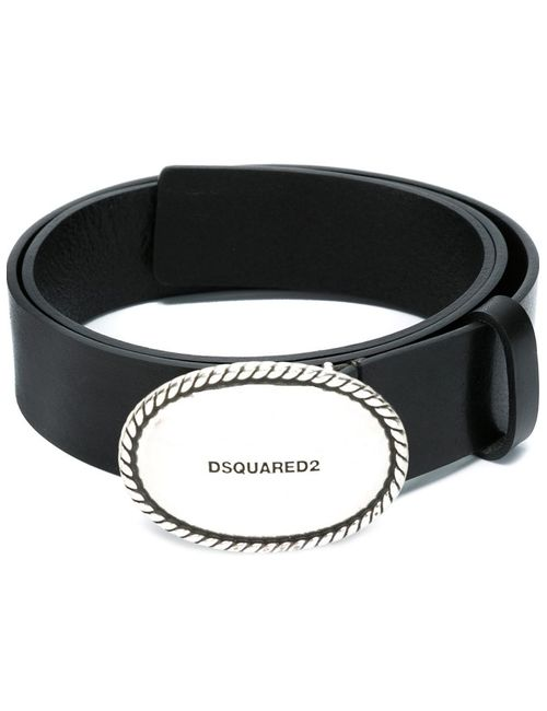 Dsquared2 | Женский Чёрный Ремень С Овальной Пряжкой И Тисненым Логотипом