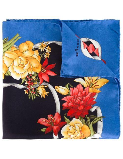 Kiton   Мужской Синий Нагрудный Платок С Цветочным Принтом